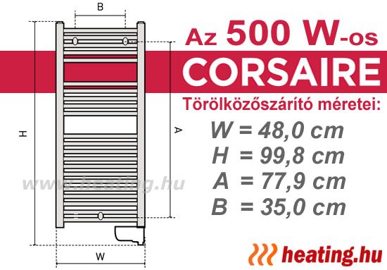 Az 500 W -os Thermor Corsaire elektromos törölközőszárító méretei.