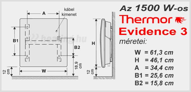 A Thermor Evidence 3 HD 1500 W teljesítményű, digitális programozású elektromos radiátor méretei.