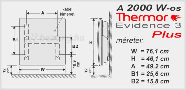 A 2000 W-os Evidence 3 Plus fűtőpanel kis méretű, de hatékony fűtés.