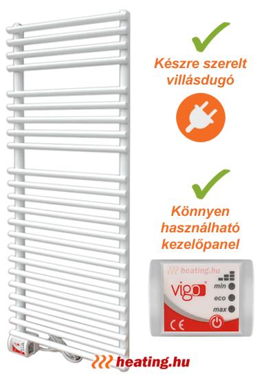 Vigo elektromos törölközőszárító radiátor villásdugóval és elektronikus teljesítmény vezérlővel.