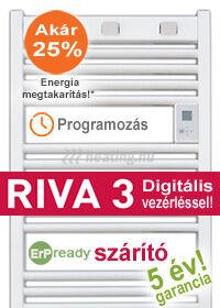 Riva 3 elektromos törölközőszárító radiátor - fürdőszobai fűtés heti programozással.