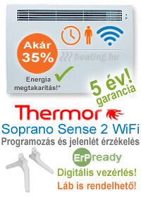 Soprano Sense 2 WiFi elektromos fűtőpanel heti időzítéssel, jelenlét érzékelővel és kettős hatással.