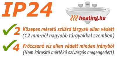 Csak az az elektromos fűtőkészülék szerelhető fel a fürdőszobában, amely minimum IP 24 védettséggel rendelkezik.