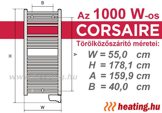 Az 1000 W teljesítményű Thermor Corsaire elektromos törölközőszárító szerelési méretei.