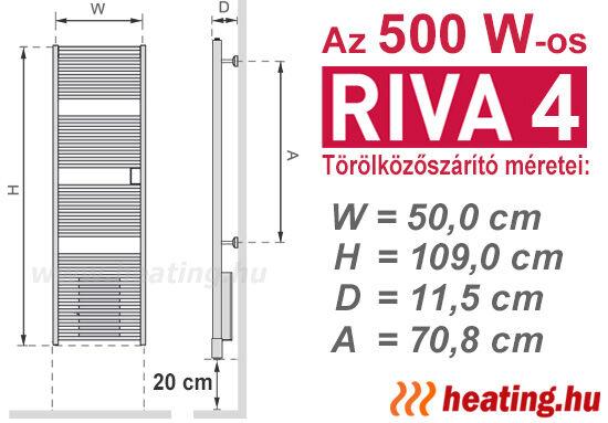 Az 500 W-os Riva 4 ErP ready elektromos törölközőszárító radiátor méretei.
