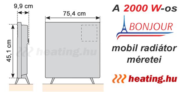 A 2000 W-os Bonjour 2 mobil villanyradiátor méretei.